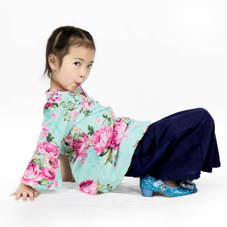 mint printing long-sleeved tops and trousers for little girl suit