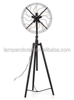 New Design Vintage Steel Black Fan Tripod Floor Lamp For Home ...
