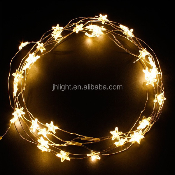 Gold Stars Battery Operated Led Light String Copper Wire Holiday Star Shape Waterproof Long