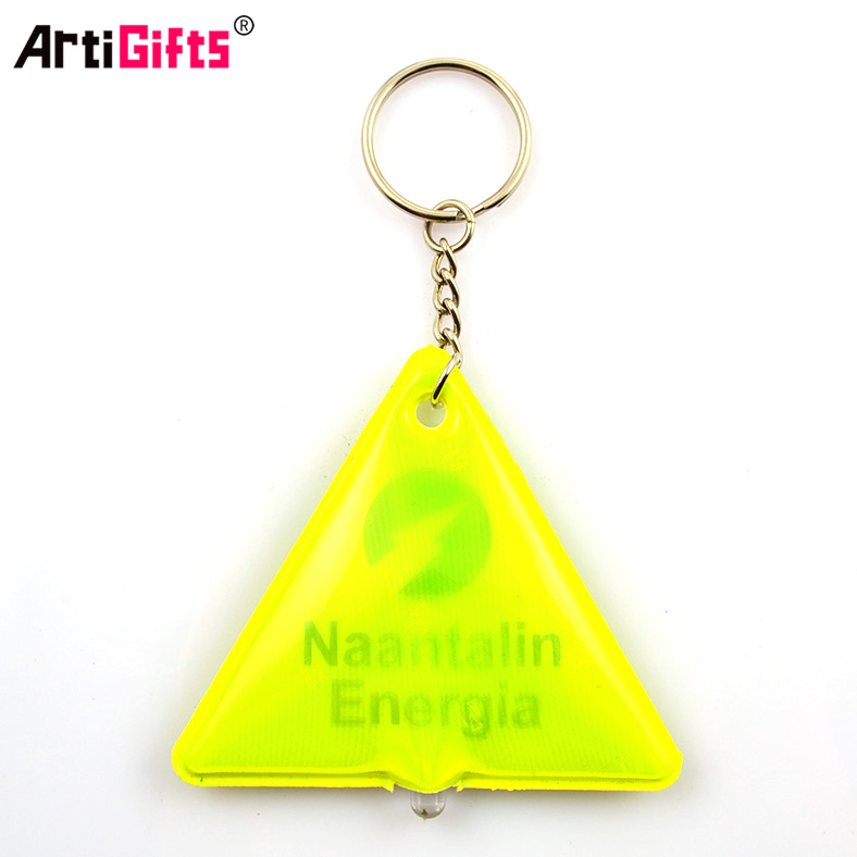 Customized Hot Sale New fashion reflective pressed pvc led keyring