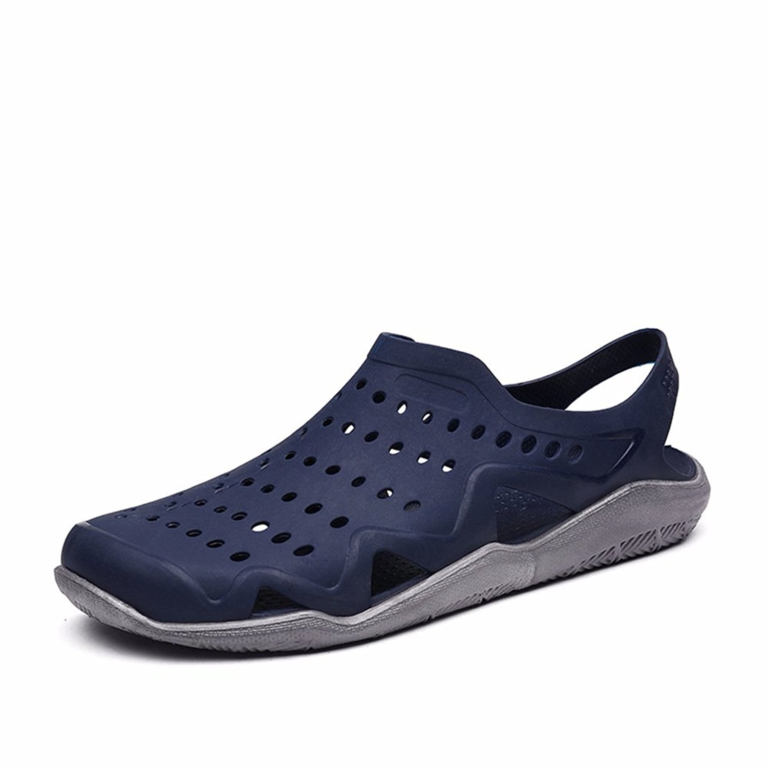 Sunny Holiday Mens Comfort Walking Water Shoes Pool Shower Saltwalter Sandals Outdoor Beach Aqua Walking Anti-Slip Clogs Shoes Blue/Grey EU41