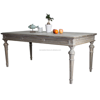 white vintage rustic style elegant wooden dining table
