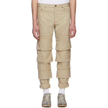 OEM Men Beige Tripel Rolled Cuff Jeans