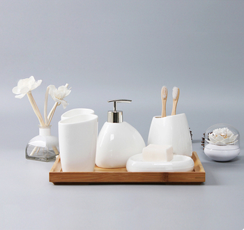 Hotel Home Novelty Simply Bamboo Bathroom Accessories Set Ceramic
