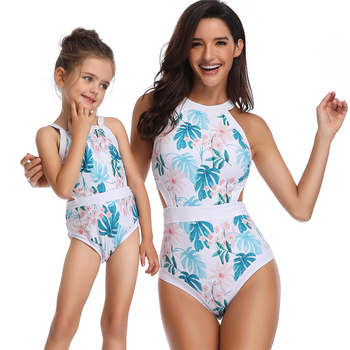 2019 Geometric printed one piece sweet girl lovely bikini for child and adult,mother and baby,women and girl