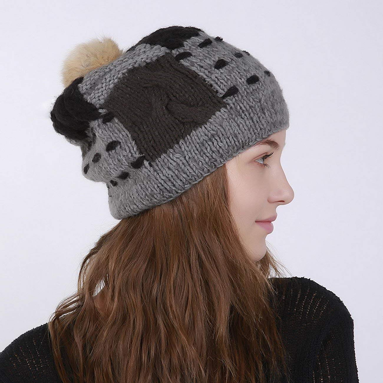 4958b3162787f5 Get Quotations · KUAILEJIA wool hat knitted hat rabbit fur ball wool hat  wool hat rabbit fur ball of