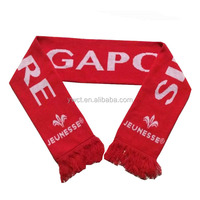Cheap Hot Style Fan Scarf Acrylic Jacquard Logo Singapore Scarf for Sale