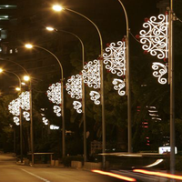 Outdoor snowflake LED light pole decoration large tube light snowflake for street lamp pole decoration