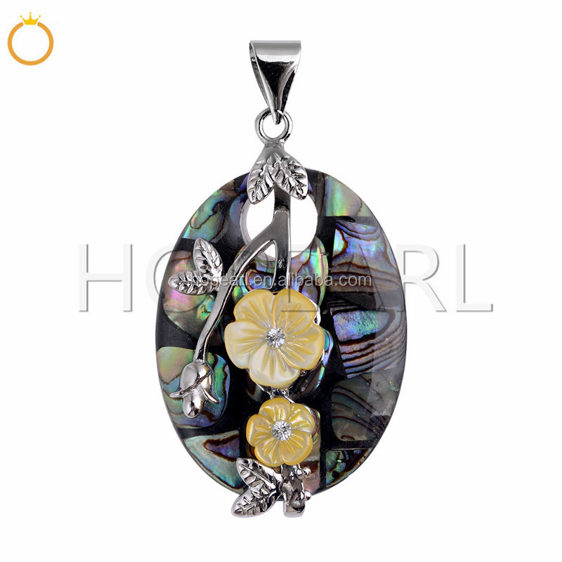 MOP149 Yellow Flowers Abalone Shell Pendant Gemstone Ocean Beach Jewelry Gift