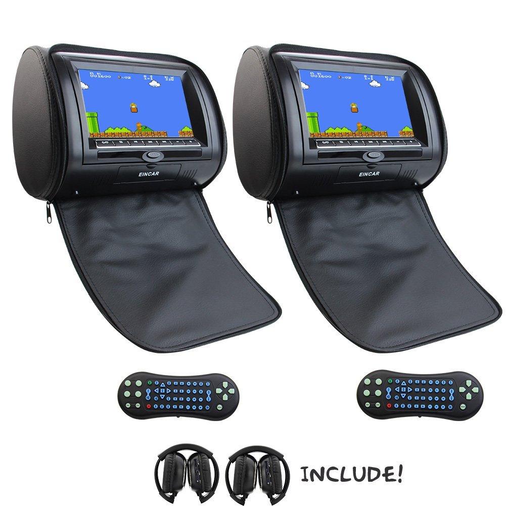 Eincar 2X 7 Inch Car DVD palyer Headrest Monitor Support mp3/mp4/dvd/cd SD/USB 32 bit Games FM/AM IR headrest Multimedia Player car seat headrest+2 IR headphones(Black)