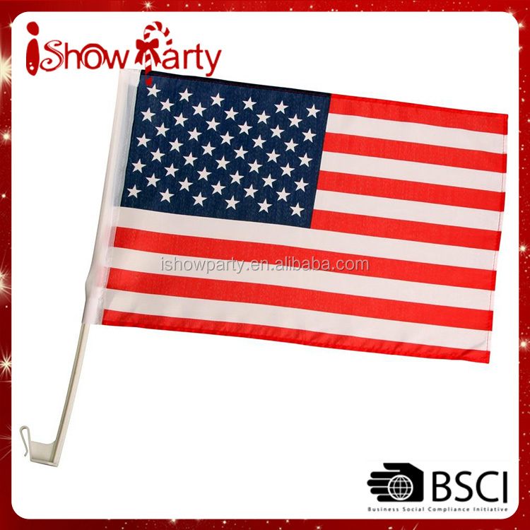 Hot Sales Cheap Factory Direct 68d Polyester 30*45cm USA Car Flags