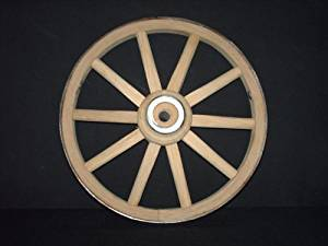 Functional - Wood Wagon Wheel - Small Cart Wooden Wagon Wheels - 12 inch with 10 staggard spokes and 1/2 inch steel sleeve axle hole