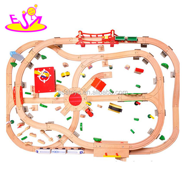high quality diy race track wooden slot cars toy for kids gift (WITH 130pcs) W04C015