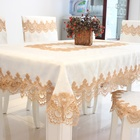 Beautiful luxury hand embroidery embroidered flower designs table cloth