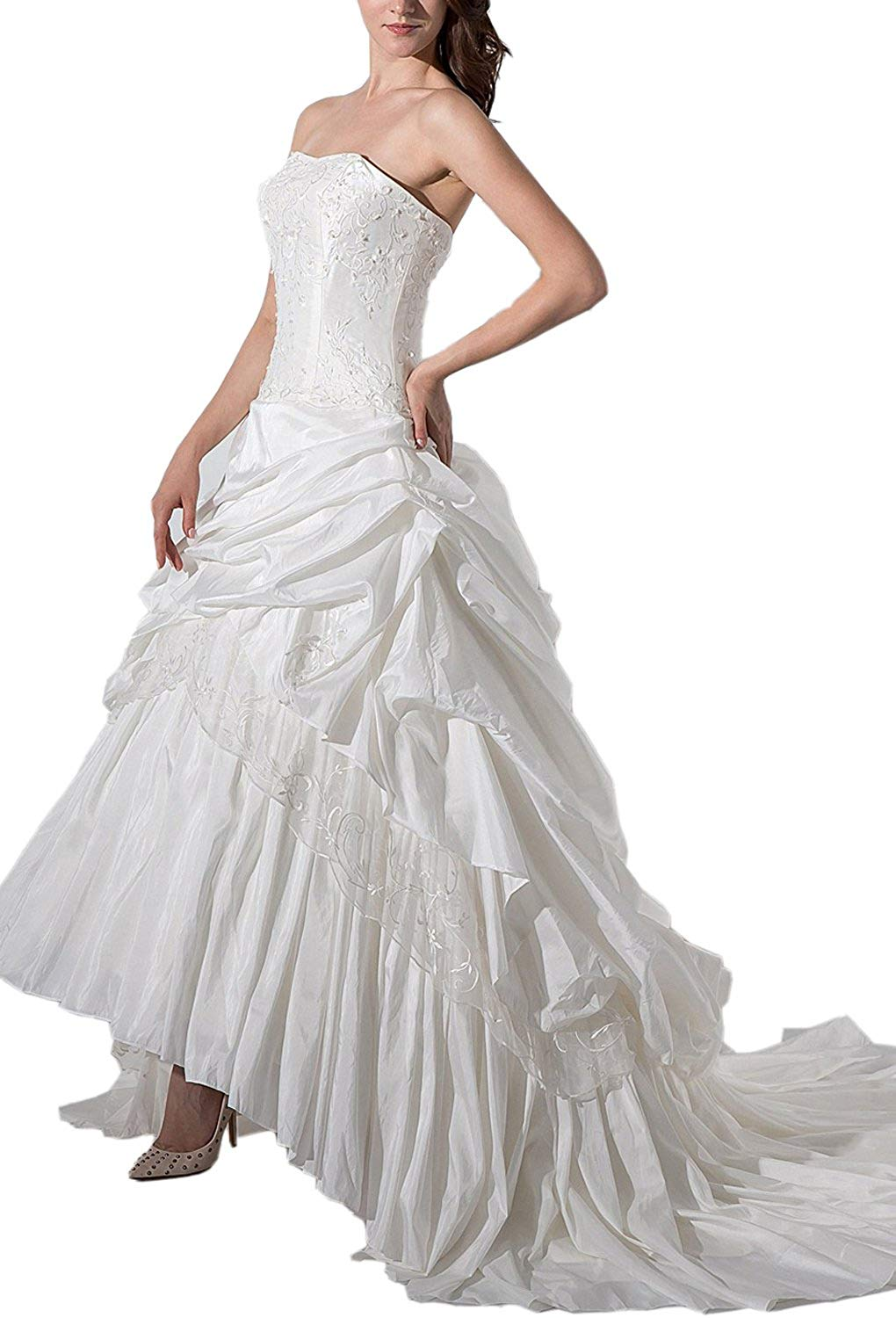 7d0d1bcf0f Get Quotations · Angel Formal Dresses Women s Strapless Satin Embroidery Strapless  Bridal Wedding Dresses