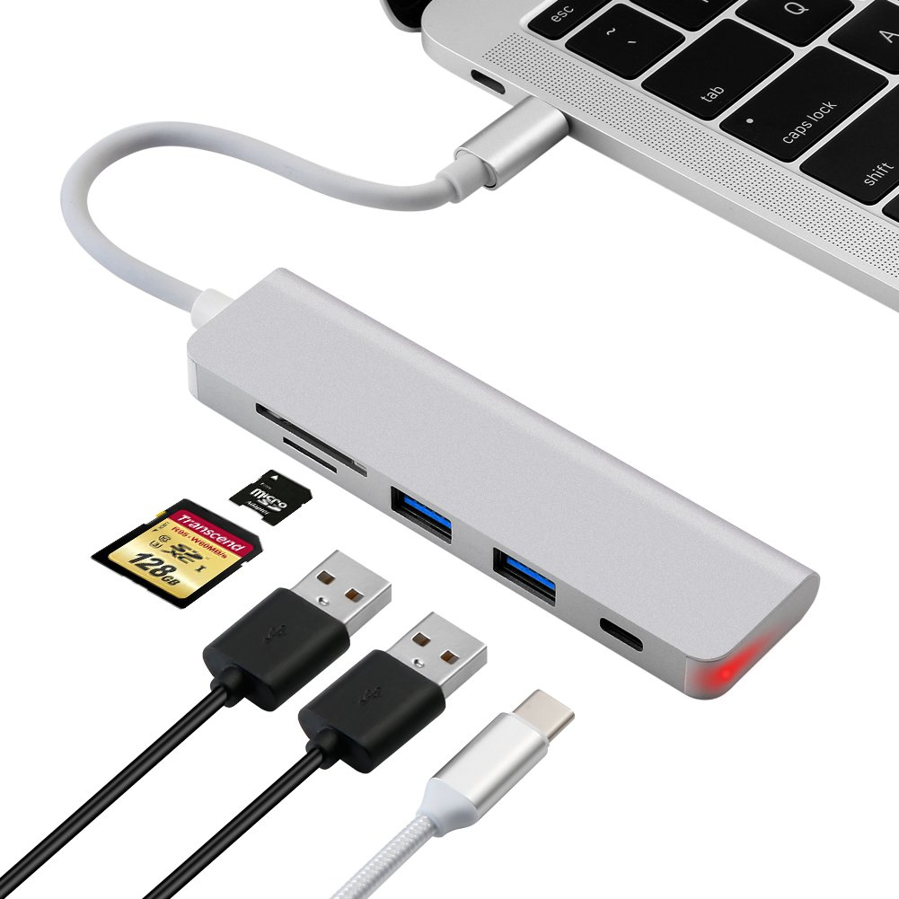 USB C Hub, Type-C Hub with PD+2USB3.0+SD+TF Card Reader, Portable Aluminum USB C Adapter for 2017 MacBook Pro 2017 iMac, Multi-Port Charging & Connecting Adapter