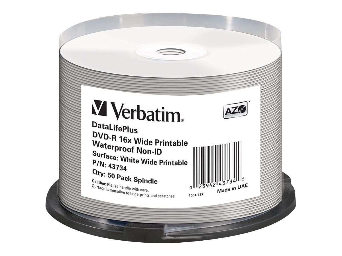 Verbatim DVD-R 16X bulk 4.7GB W. Glossy Waterp.prof.Non IDBrand,50Pack, 43734 (Waterp.prof.Non IDBrand,50Pack)