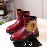 Factory direct supply Latest baby shoes Girls Boots Winter with fur ball