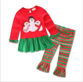 28e27149411ca festival girls ruffle sets red and green stripe christmas reindeer boutique outfits  baby girl christmas outfits