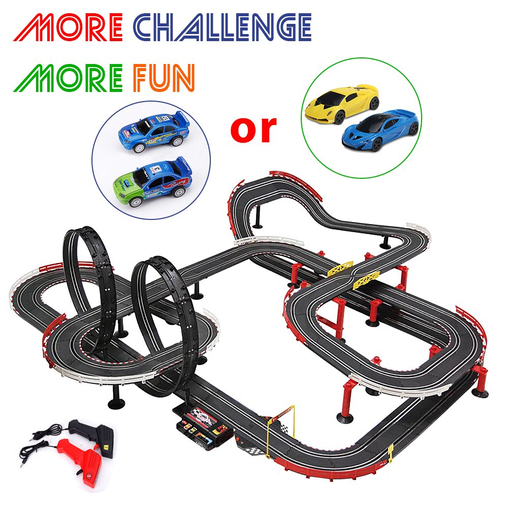StarryBay 1/43 Scale Electric RC Slot Car Racing Track Sets Dual Speed Mode Race Track for Boys and Girls - 2 Slot Racing Car & 2 RC Handles Included - More Fun More Challenge More Competitive