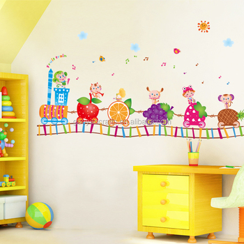 new mini fruit train wall stickers for kids rooms home decor diy