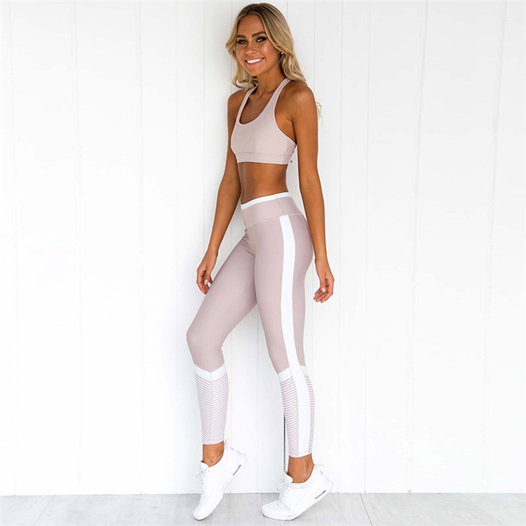 High quality pure color stitching super stretch breathable sweat absorption running yoga suit