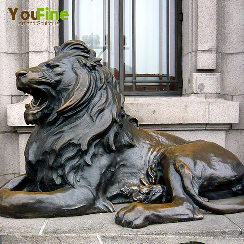 Outdoor Life Size Antique Brass Lion Statue