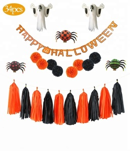 3D vision happy halloween banner honeycomb ball ghost pom poms spider kit
