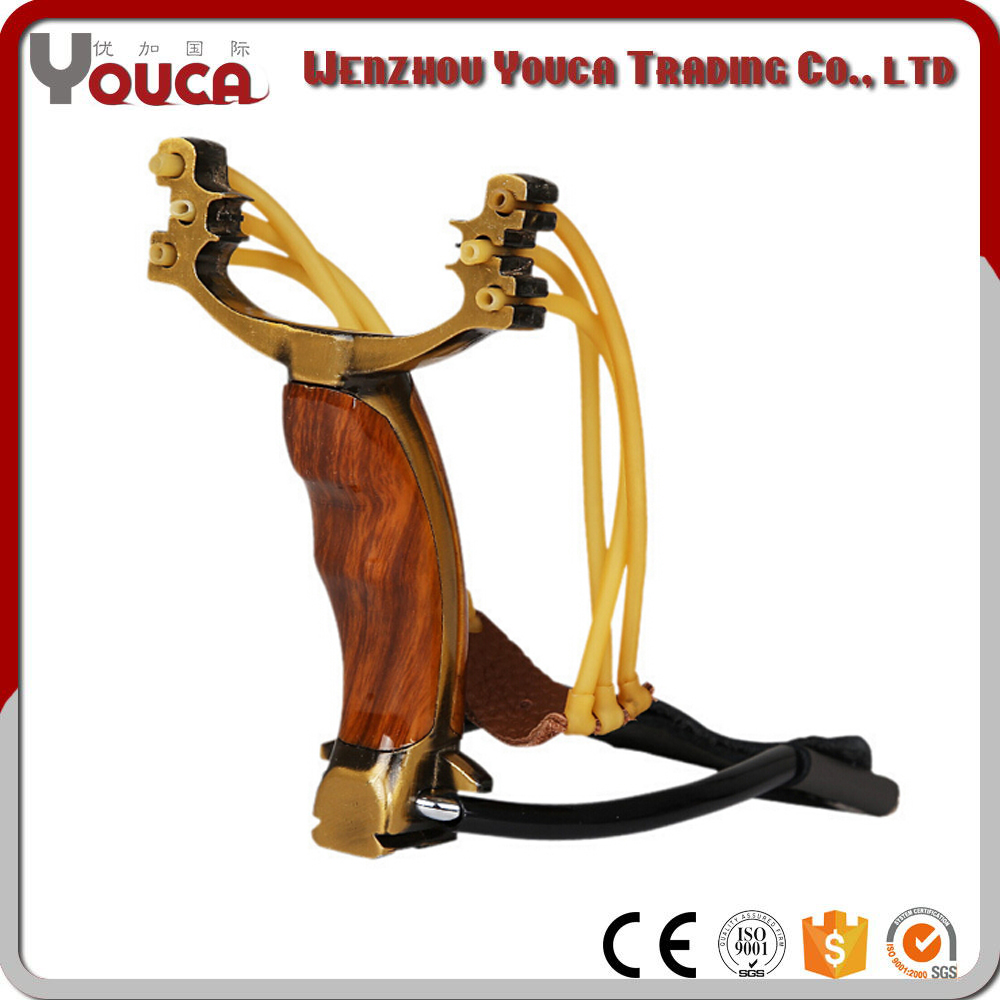 Wholesale Wooden Stainless Steel Slingshot Rubber Band Slingshot