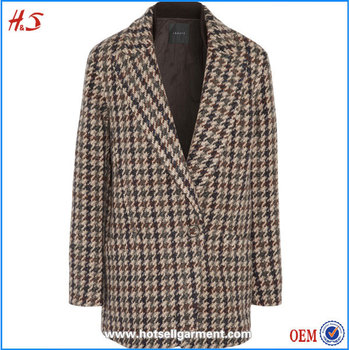 Plus Size Clothing Plaid Tweed Coat Women's Winter Warm Long Coat ...