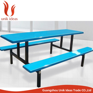 China fiberglass coloured canteen restaurant dining tables and chairs sale