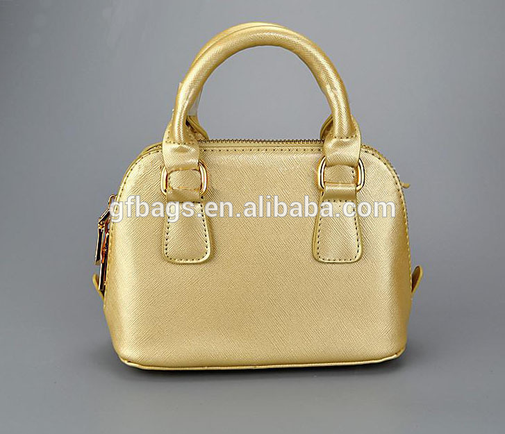 Metallic Gold Mini Girls Princess Leather Handbag Shoulder Bag