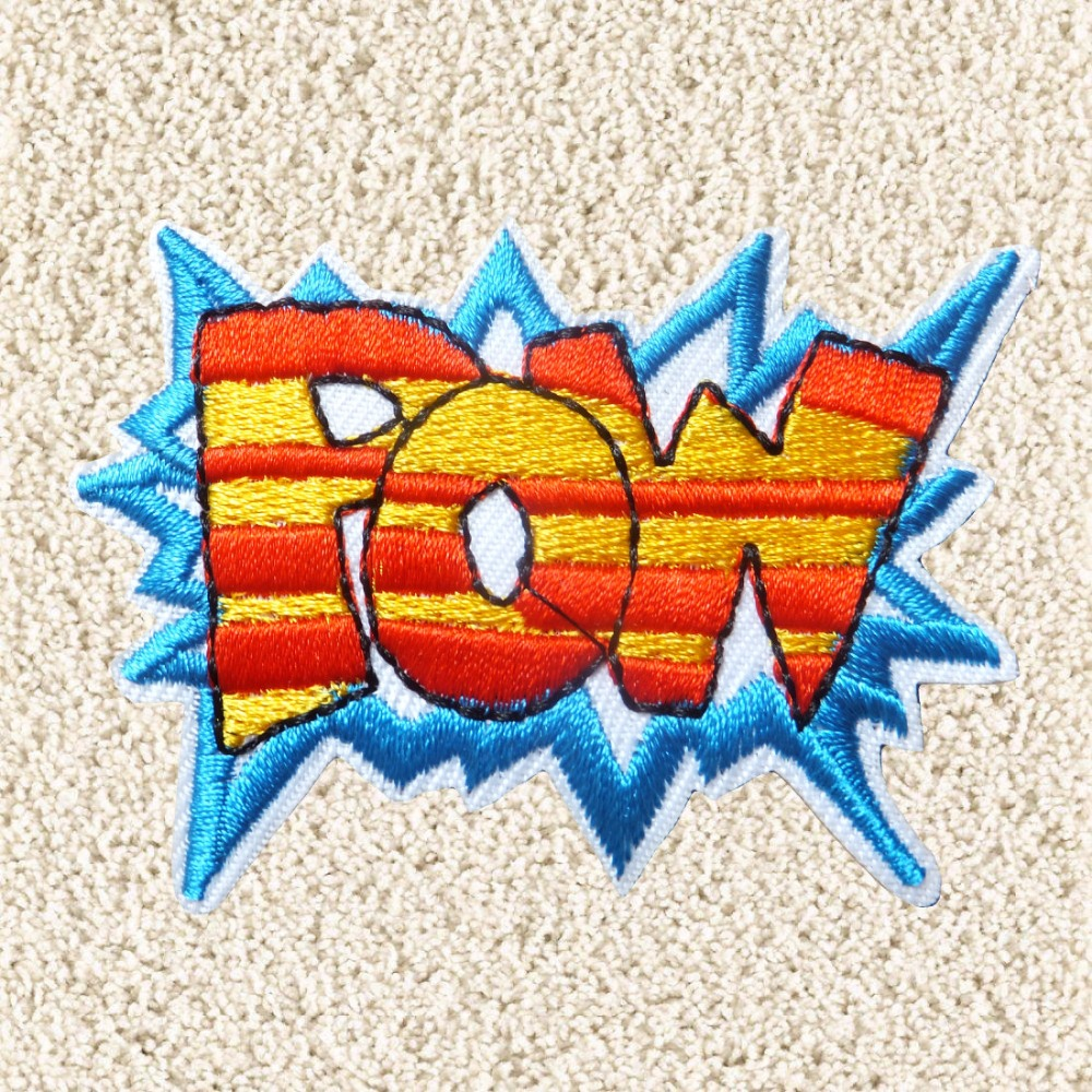 POW Superhero Patch letter Iron On Comic Patches/embroidery flower patch trucker cap/embroidery patch custom