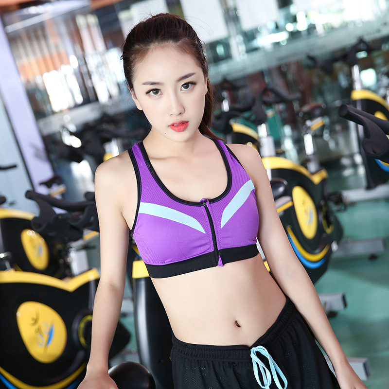 LD-YDWX033 Hot sale high quality factory wholesale High Support Push Up Front Zipper Gym Yoga Fitness Tops Sports Bra underwear