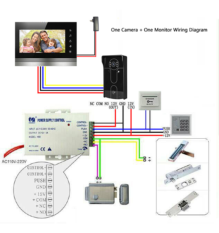 xsl v70k m4 7inch video intercom video door phone doorbell 1 camera rh alibaba com wiring diagram video intercom FLIR Intercom Wiring-Diagram