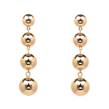 Simple 4 Metal Pompom Dangeler Earring Jewelry Gold Ball Earrings