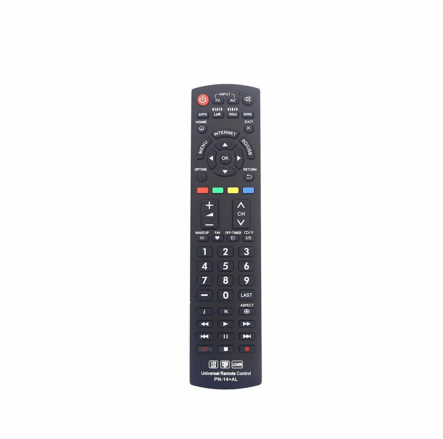 Vinabty New Replaced Remote fit for Panasonic N2QAYB000485 N2QAYB000486 N2QAYB000321 N2QAYB000221 N2QAYB000703 N2QAYB000837 N2QAYB000926 Plasma Smart 3D LED LCD HDTV TV Remote (PN-14)