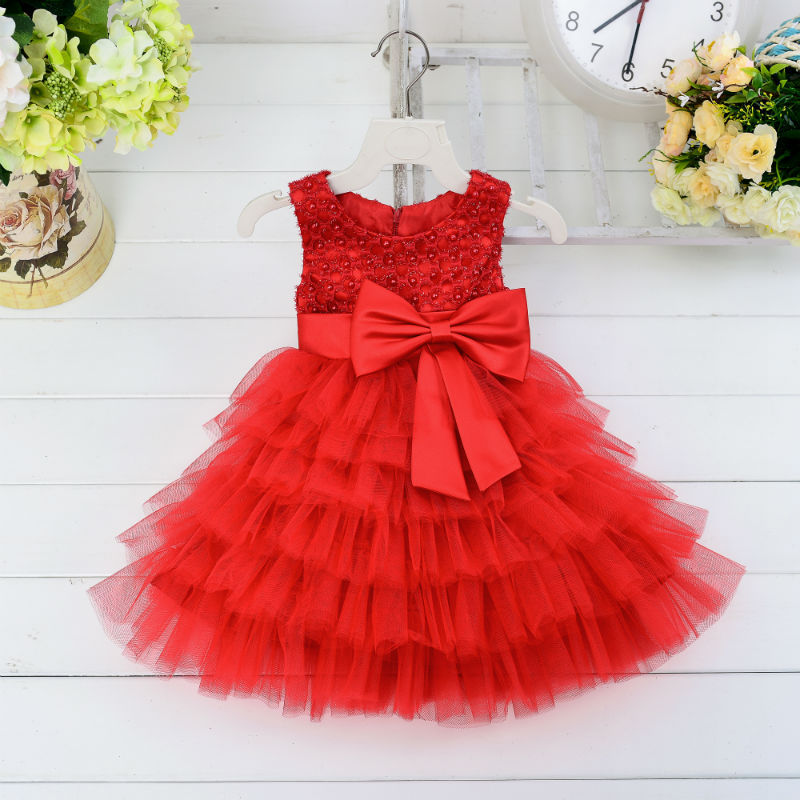 Party Frock Designs One Year Baby Party Dresses Red Children Wholesale Tutu