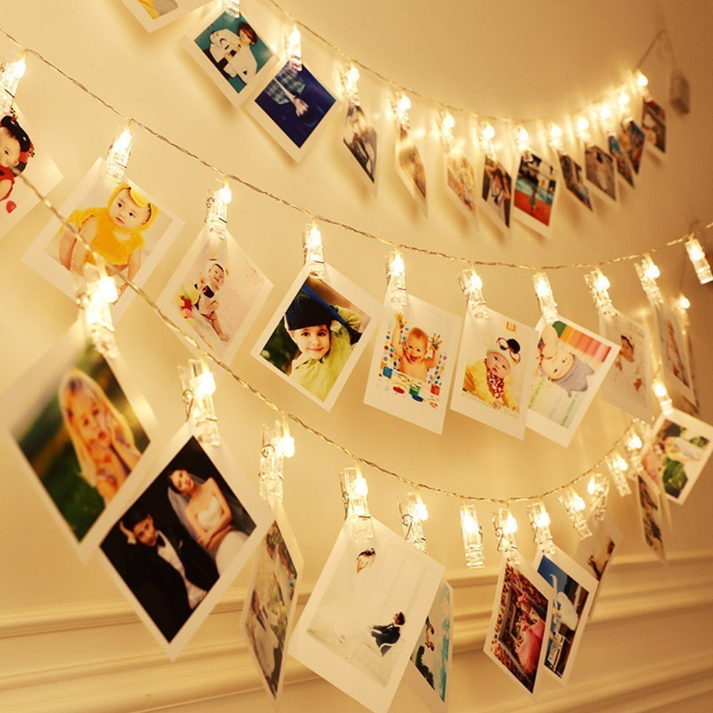 KEKH 40 LED Photo Clips String Lights, Christmas Indoor Fairy String Lights for Hanging Photos Pictures Cards and Memos, Ideal Gift for Dorms Bedroom Decoration (40 LED Warm White)