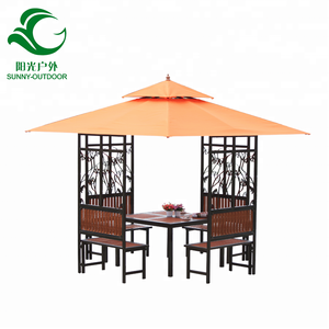 Garden Iron Wrought Tent Roof Material Square Gazebo 3x3 m