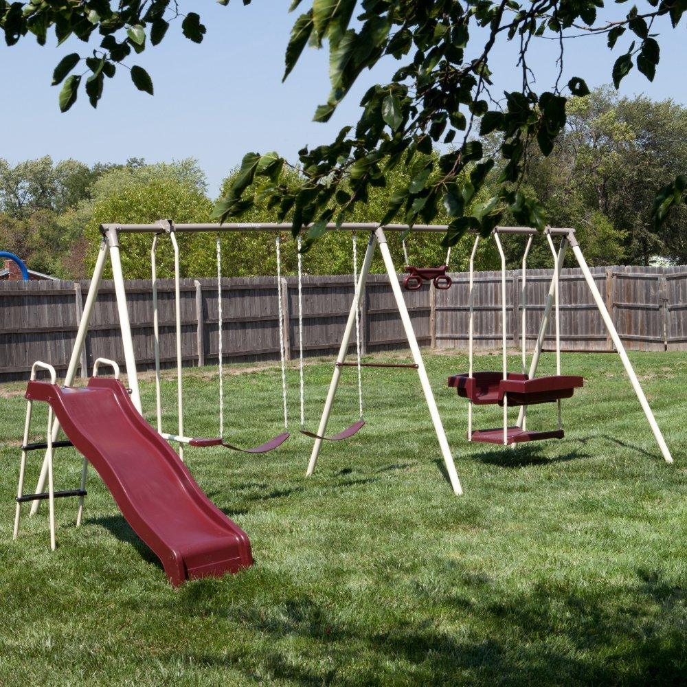 Get Quotations · Flexible Flyer Play Park Swing Set w/ Slide, Swings,  Air-Glider,