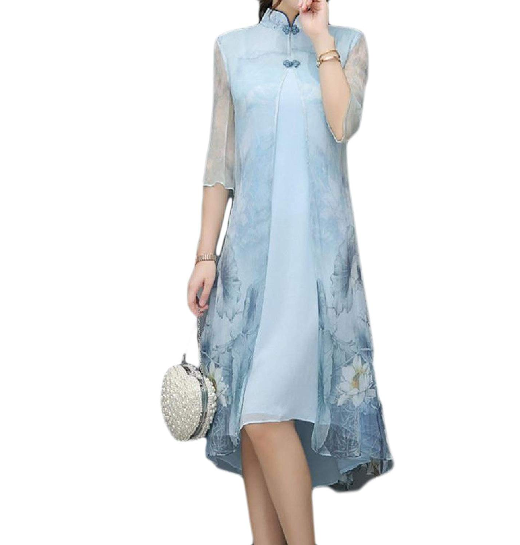 GodeyesWomen Godeyes Womens Print Cut Out Silk Chinese Style Evening Dress Cheongsam