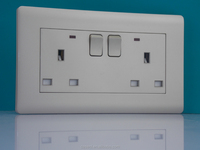 silvery uk 2 gang socket/ and 13a 2 gang switched with night wall sockets