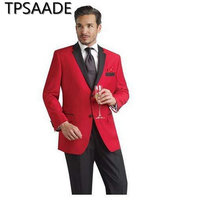 Black Collar Wedding Suits For Men Red Groom Wear Formal Party Men Suit Coat Blazer (Jacket+Pants)