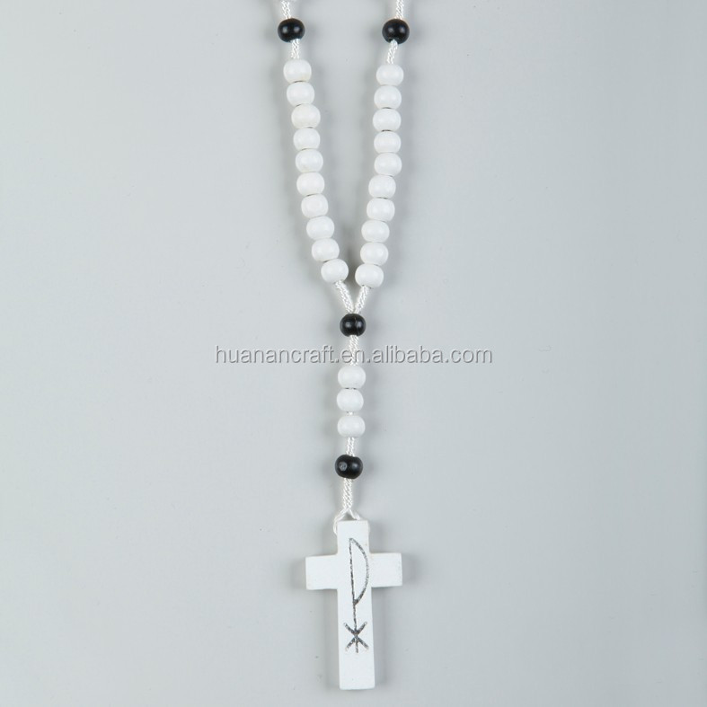 Handmade 8mm wood bead cord rosary necklace