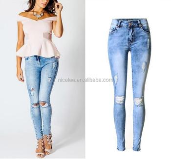 1220e3e0309e NS0155 light blue jeans for women sexy ripped jeans
