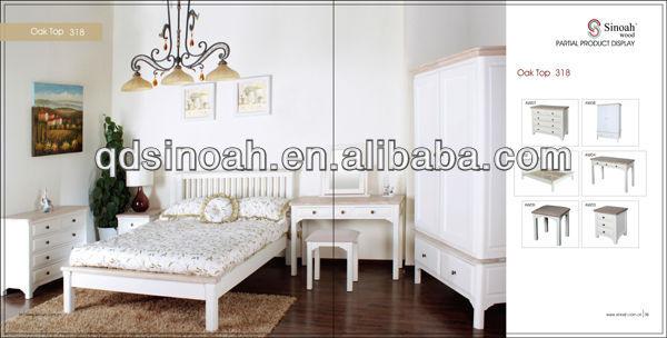 318 gama blanco pintado conjunto de muebles de dormitorio de pino