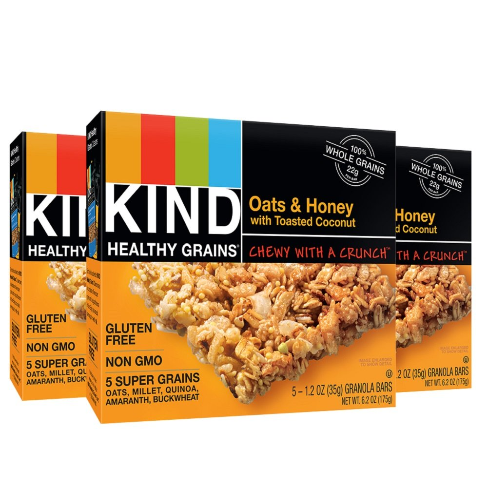 KIND Healthy Grains Granola Bars, Oats & Honey with Toasted Coconut, 5 Count (Pack of 3)