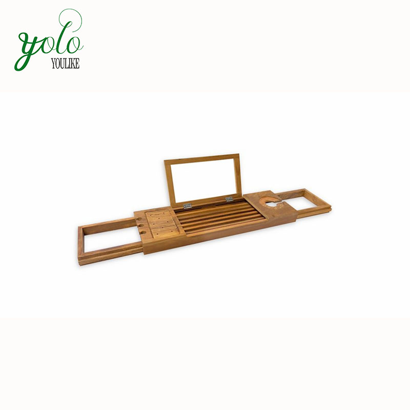 Wholesale Expandable Adjustable 100% Natural Wooden Bathtub Bath Caddy  Bamboo With Mirror