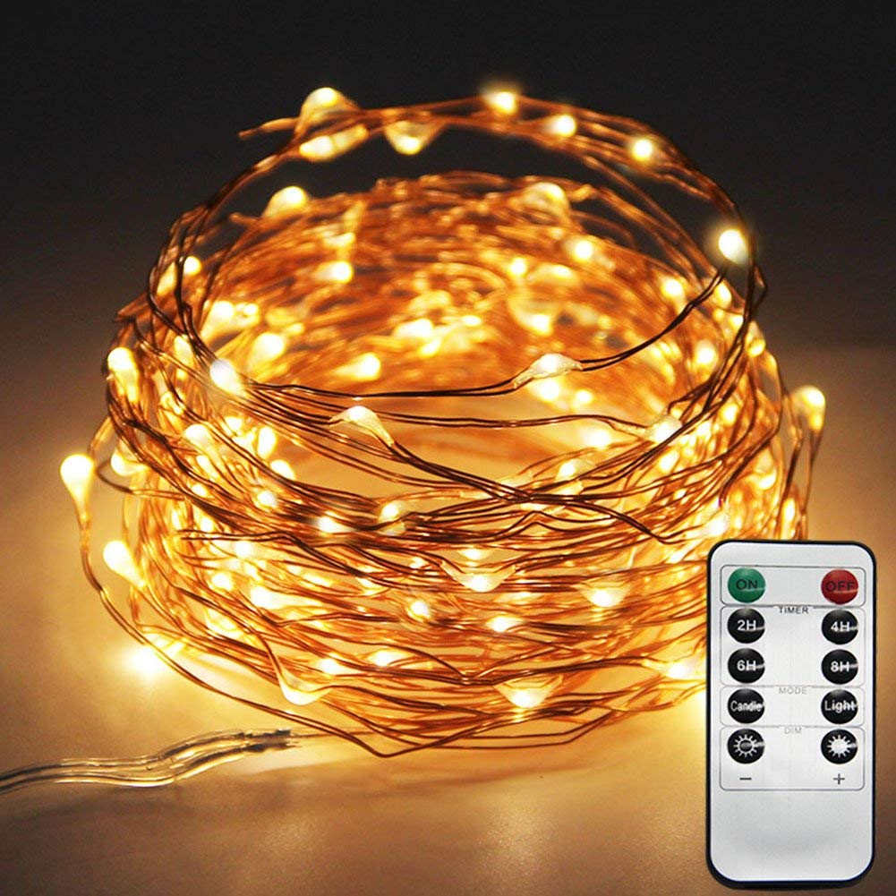 Get Quotations Le Star 33ft 100led Copper Wire String Lights Fairy 8 Modes Led